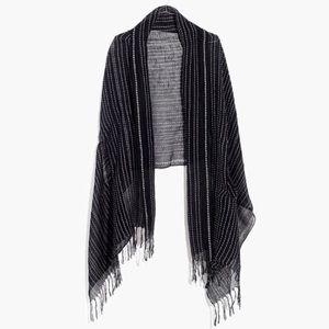 ☀️NWT Madewell Gauze-Stripe Black Cape Scarf